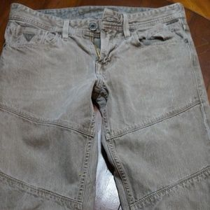 Mens Guess Slim Taper Tan Washed Jeans Size